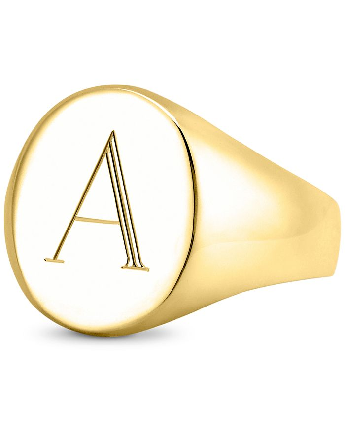 Sarah Chloe - Initial Signet Ring in 14K Gold-Plated Sterling Silver