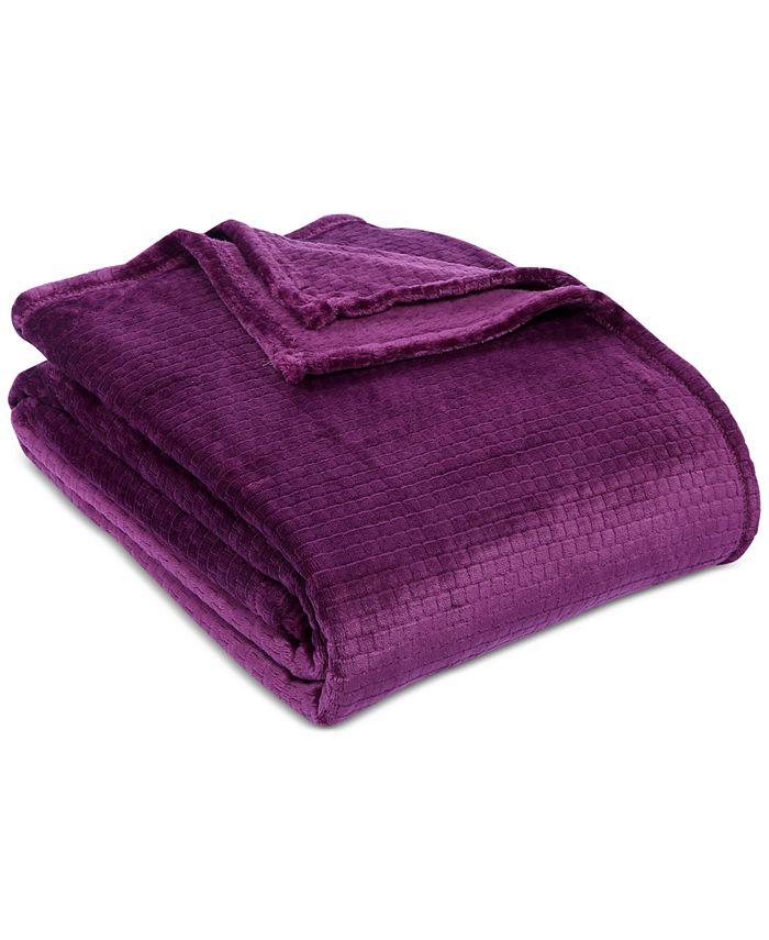 """Berkshire - VelvetLoft Textured Grid 90"""" x 90"""" Bed Blanket"""
