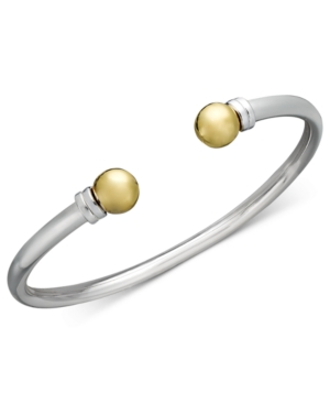 Giani Bernini Sterling Silver and 24k Gold over Sterling Silver Bracelet, Open Cuff Bangle