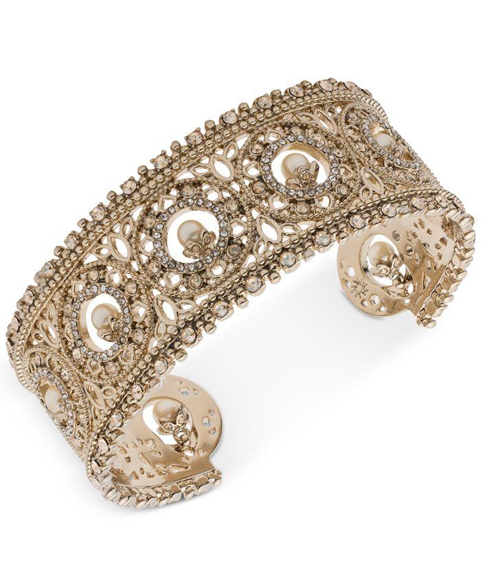 Marchesa - Gold-Tone Crystal & Imitation Pearl Cuff Bracelet