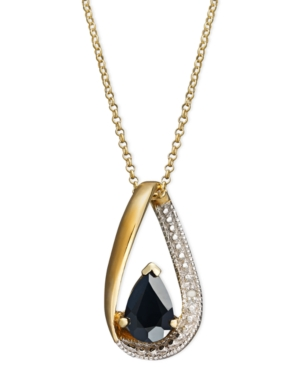 Victoria Townsend 18k Gold over Sterling Silver Necklace, Sapphire (1 ct. t.w.) and Diamond Accent Drop Pendant