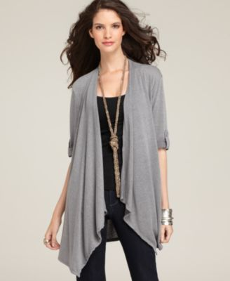 Style&co. Cardigan, Three Quarter Sleeve Roll Tab Open Front