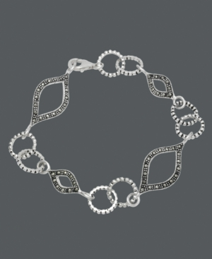 Genevieve & Grace Sterling Silver Bracelet, Marcasite Marquise and Circle Link Bracelet
