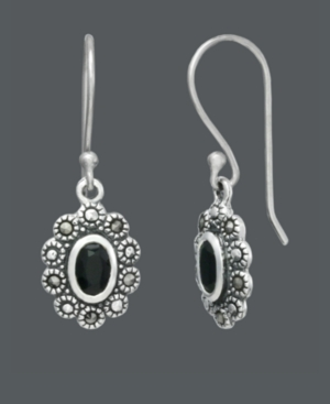 Genevieve & Grace Sterling Silver Earrings, Faceted Onyx (4-6 mm) and Marcasite Oval Earrings