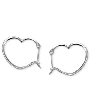 Unwritten Sterling Silver Earrings, Mini Click Heart Hoop Earrings