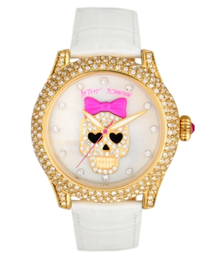 Betsey Johnson Watch,  Women's White Croc Embossed Leather Strap BJ00019-06