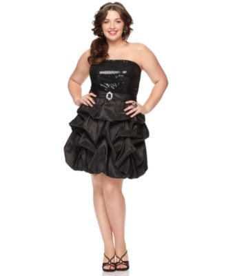 Trixxi Plus Size Dress, Strapless Sequin Ruffled