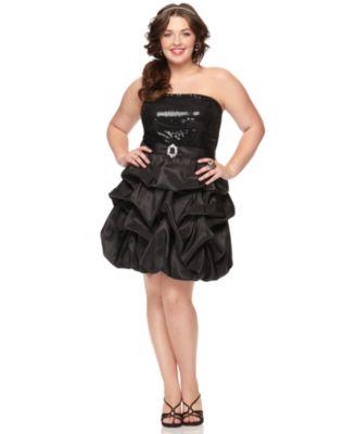 Trixxi Plus Size Dress, Strapless Sequin Ruffled