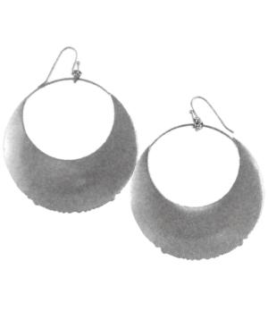 Jessica Simpson Earrings, Silver Tone Moon Shape Hoop Earrings
