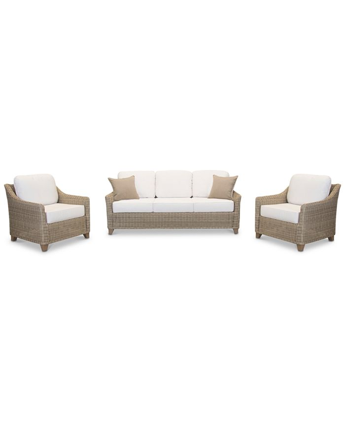 Furniture - Willough Outdoor 3-Pc. Set (1 Sofa & 2 Club Chairs)