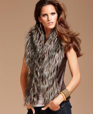 INC International Concepts Petite Vest, Sleeveless Knit Panel Faux Fur
