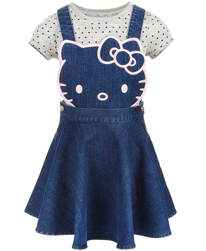 Hello Kitty - Little Girls 2-Pc. Denim Skirtall & T-Shirt Set