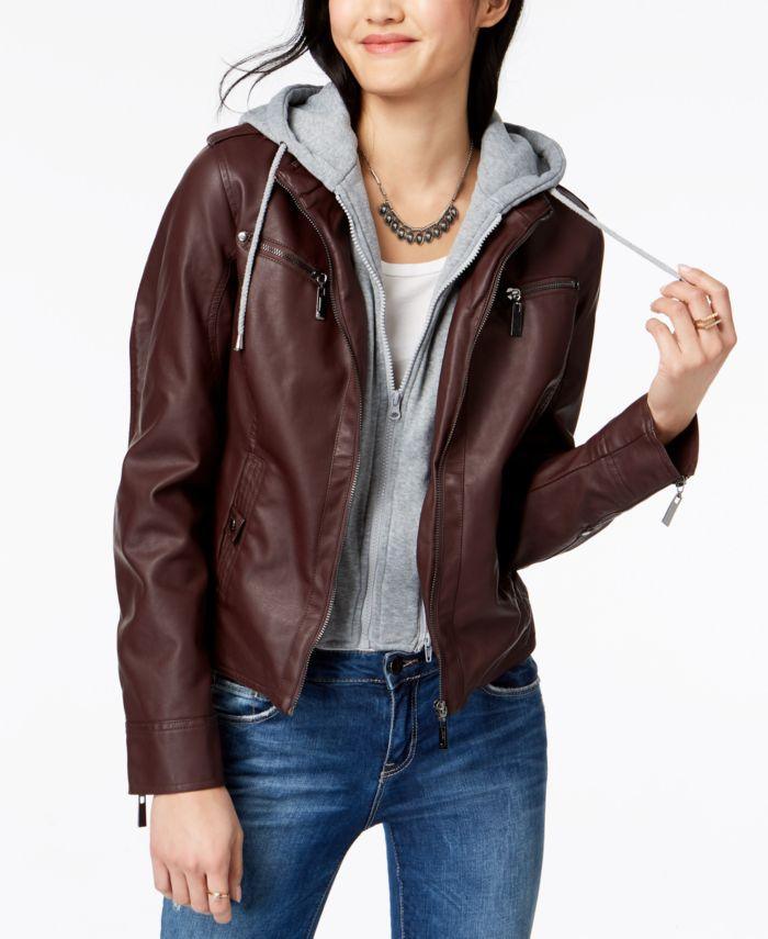 Jou Jou Juniors' Hooded Faux-Leather Moto Jacket & Reviews - Coats - Women - Macy's