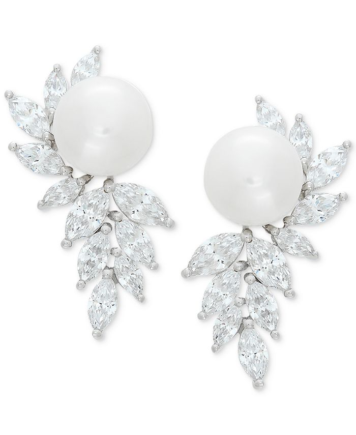 Arabella - Cultured Freshwater Pearl (10mm) & Swarovski Zirconia Drop Earrings in Sterling Silver