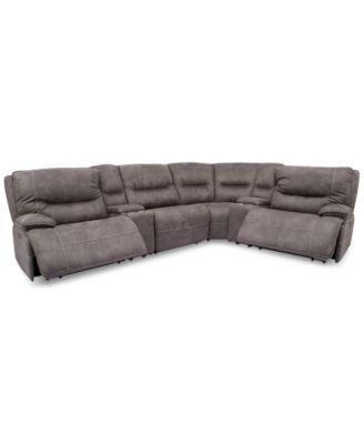 Felyx 6-Pc. Fabric Sectional Sectional Sofa With 2 Power Recliners, Power Headrests, 2 Consoles And USB Power Outlet