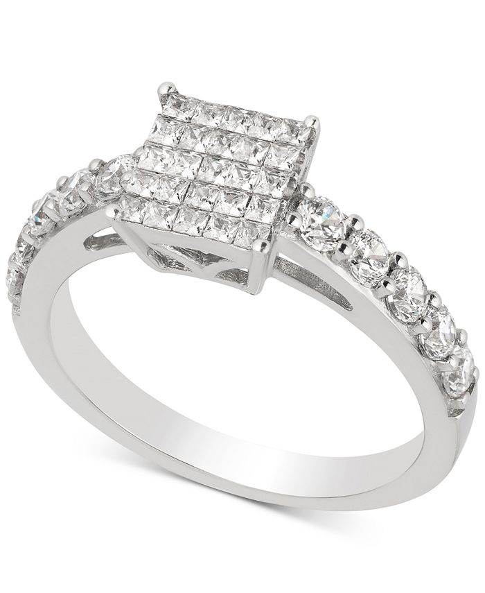 Macy's - Diamond Princess Cluster Engagement Ring (1 ct. t.w.) in 14k White Gold