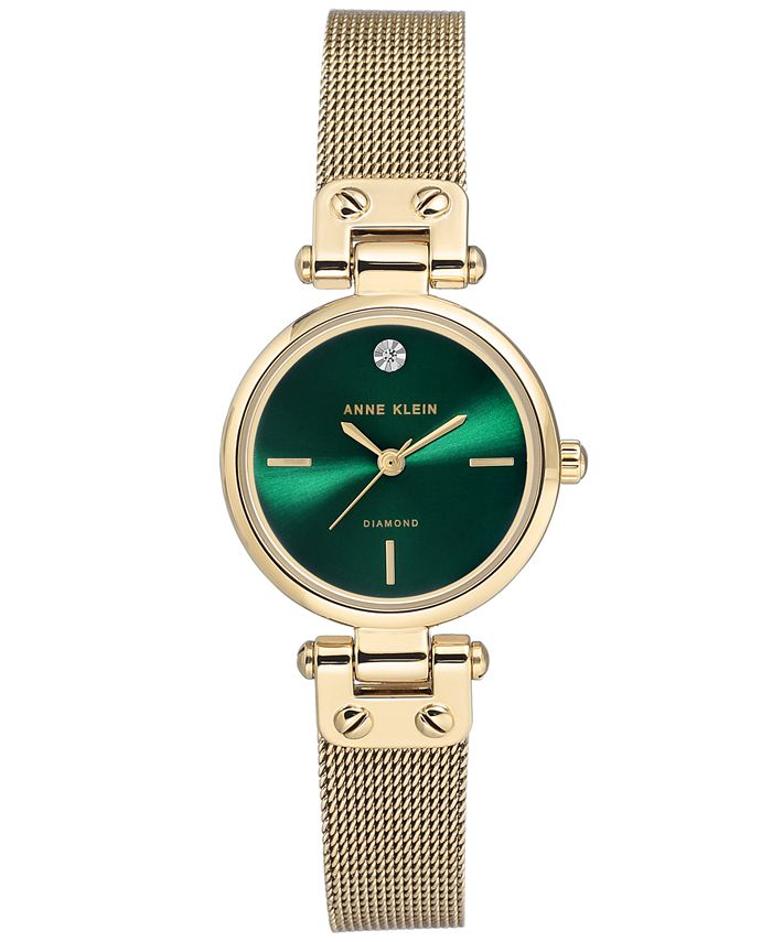 Anne Klein - Women's Diamond-Accent Gold-Tone Stainless Steel Mesh Bracelet Watch 26mm