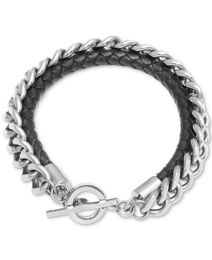 Macy's - Men's Braided Leather Layered Link Bracelet in Stainless Steel
