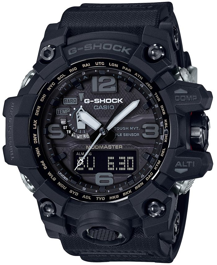 G-Shock - Men's Solar Analog-Digital Master of G Black Resin Strap Watch 56mm