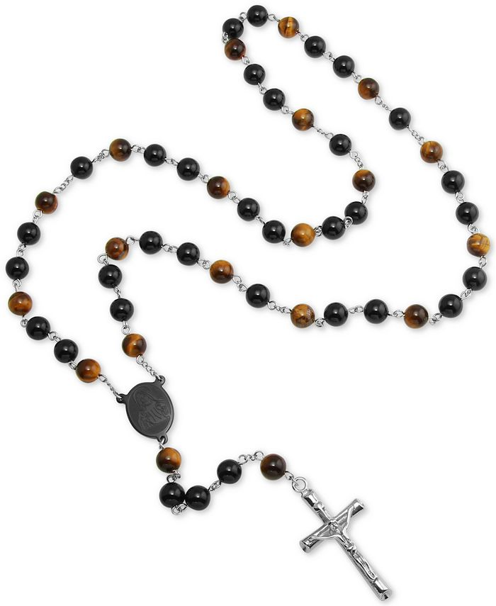 "Macy's - Men's Tiger' Eye (5mm) and Black Agate Stone Cross 28"" Lariat Necklace in Stainless Steel"