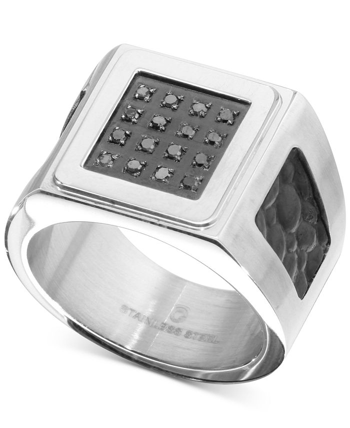 Macy's - Men's Diamond Leather Ring (1/6 ct. t.w.) in Stainless Steel