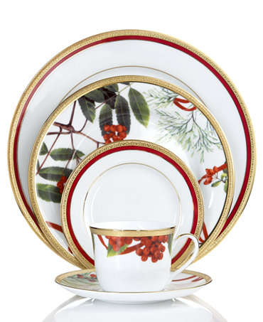 charter club dinnerware holly berry and red rim mix and match collection fine china macy 39 s. Black Bedroom Furniture Sets. Home Design Ideas
