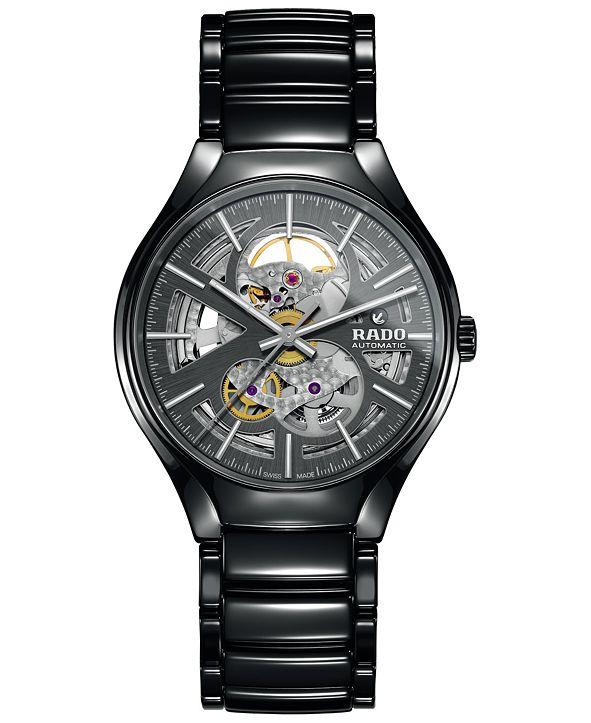 Rado Men's Swiss Automatic True Open Heart Black High-Tech Ceramic Bracelet Watch 40mm