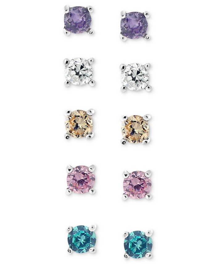 Giani Bernini - Sterling Silver Earring Set, Multicolor Cubic Zirconia Five Stud Earring Set (1 ct. t.w.)