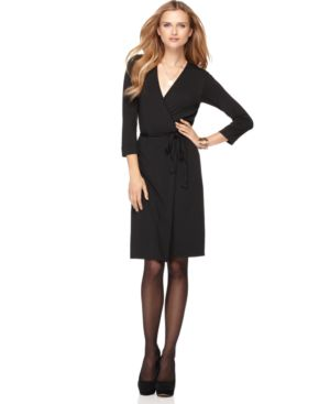 Studio M Dress, Three Quarter Sleeve Faux Wrap Jersey