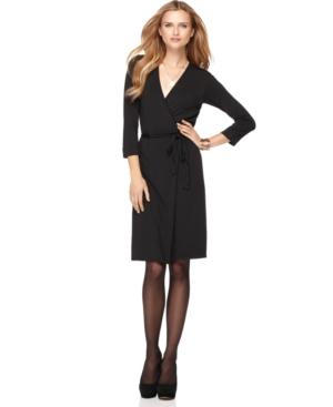 Studio M Dress, Three Quarter Sleeve Faux Wrap Jersey