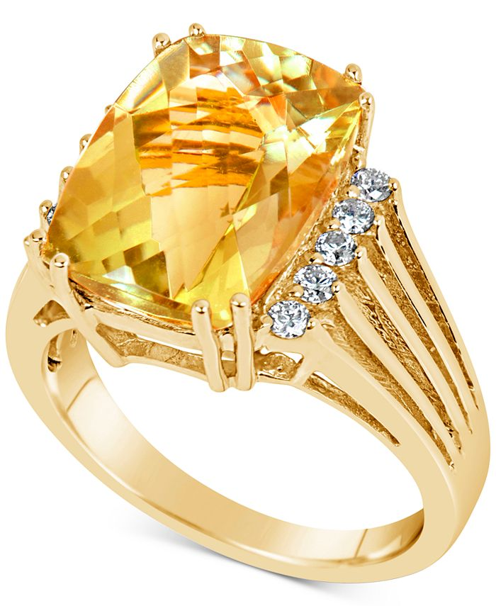 Macy's - Citrine (7 ct. t.w.) & Diamond (1/4 ct. t.w.) Ring in 14k Gold