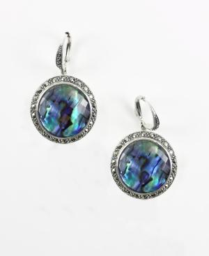 Judith Jack Earrings, Blue Abalone Round Drop Earrings