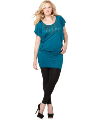 Soprano Plus Size Dress, Butterfly Sleeve Studded Banded Bottom