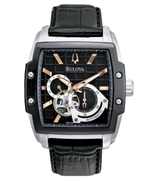 Bulova Watch,  Men's Automatic Black Croc Embossed Leather Strap 41mm 98A118