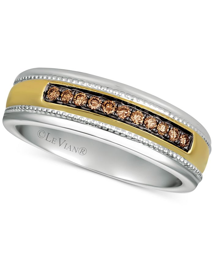 Le Vian - Men's Diamond Two-Tone Ring (1/5 ct. t.w.) in 14k Gold & White Gold