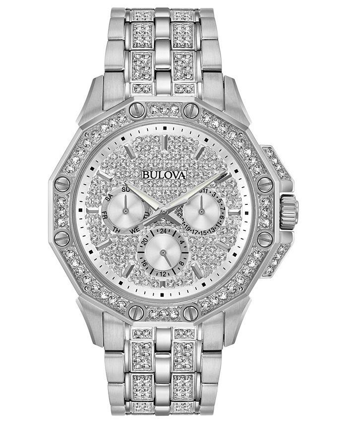 Bulova - Men's Stainless Steel & Crystal-Accent Bracelet Watch 41.5mm
