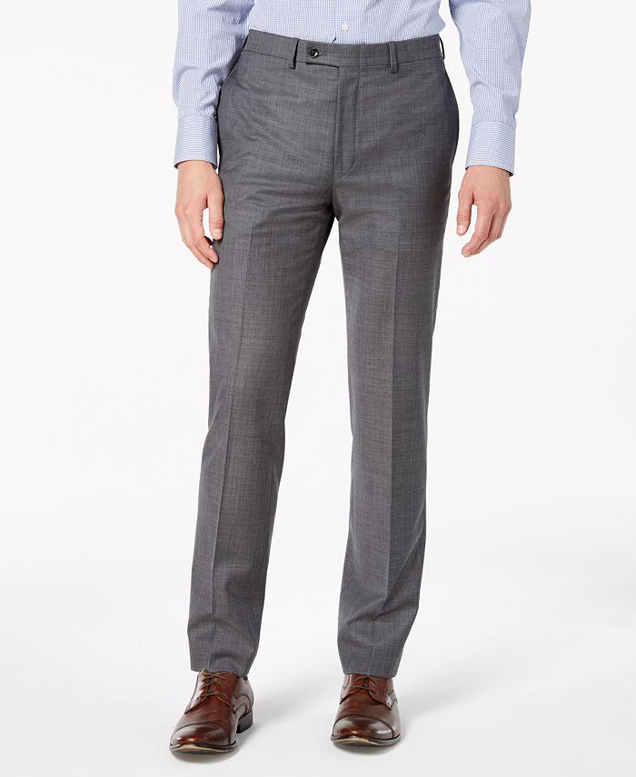 Calvin Klein - Men's Slim-Fit Stretch Gray Sharkskin Suit Pants