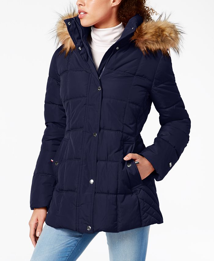 Tommy Hilfiger - Faux-Fur-Trim Hooded Puffer Coat