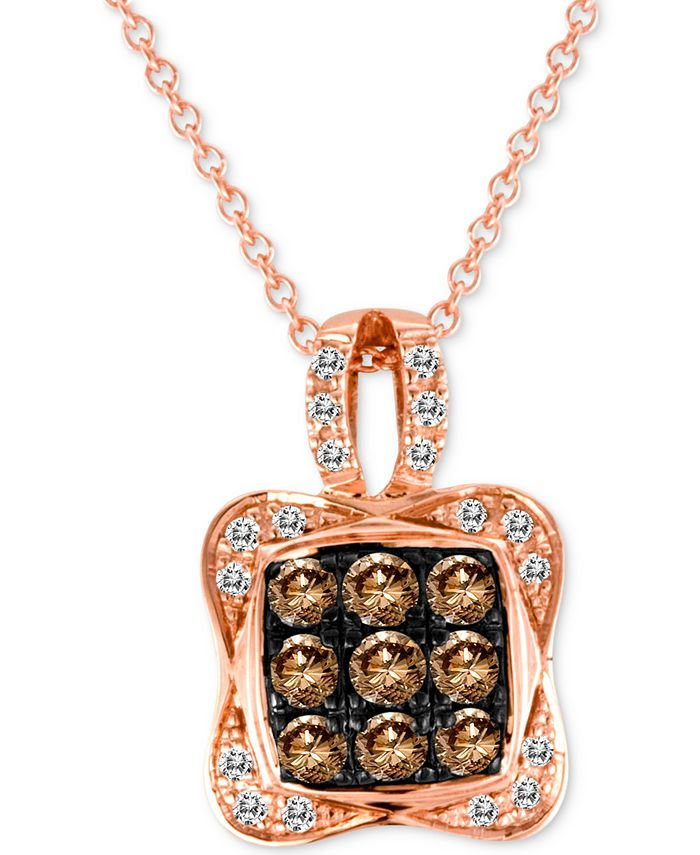 "Le Vian - Diamond Square Cluster 18"" Pendant Necklace (1/2 ct. t.w.) in 14k Rose Gold"