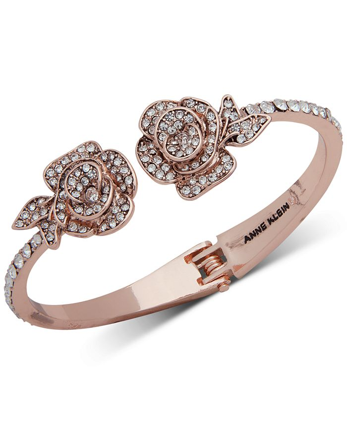 Anne Klein - Rose Gold-Tone Crystal Flower Cuff Bracelet