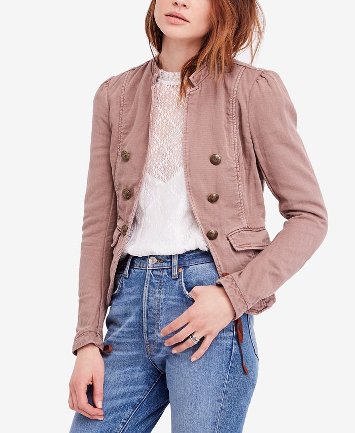 Free People - Jagger Double-Breasted Cotton Blazer