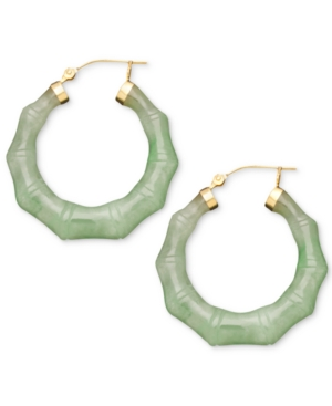 14k Gold Earrings, Jade Bamboo Hoop Earrings