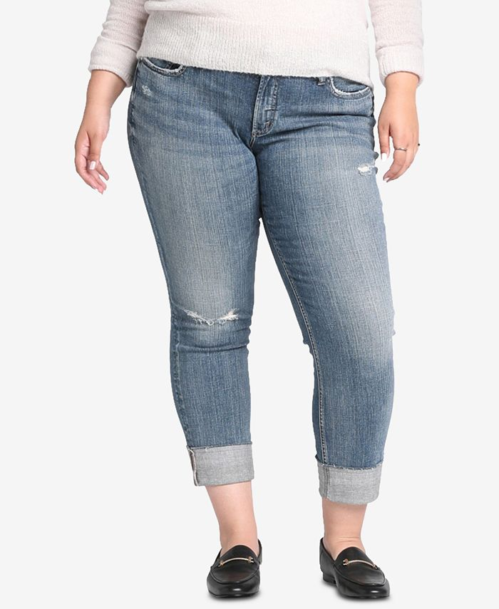 Silver Jeans Co. - Plus Size Distressed Boyfriend-Fit Jeans