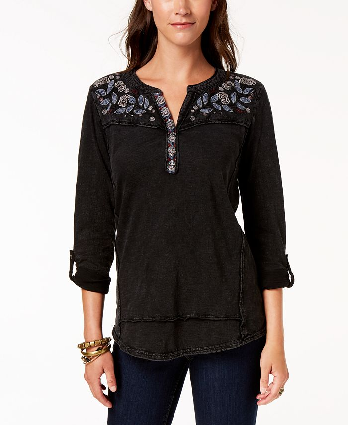 Style & Co - Embroidered Cotton Roll-Tab-Sleeve Top