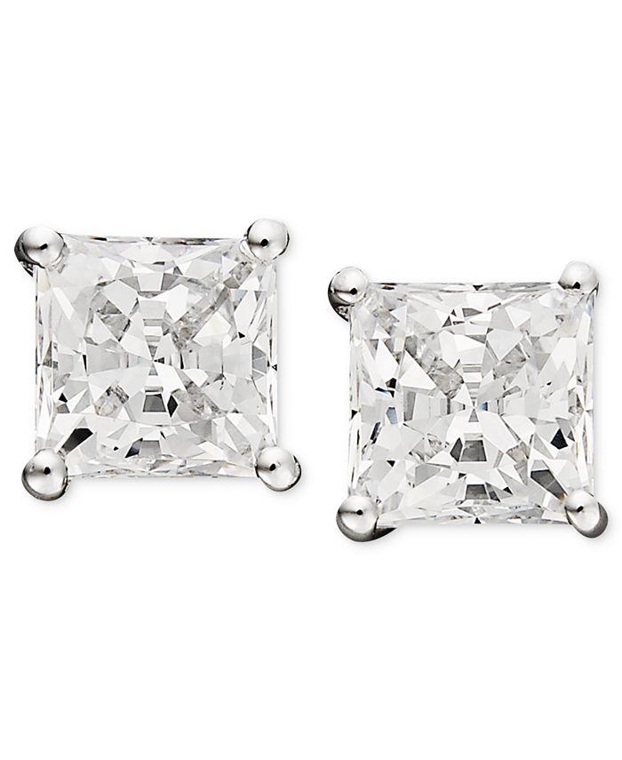 Arabella - 14k White Gold Earrings, Swarovski Zirconia Princess Cut Stud Earrings (3-3/4 ct. t.w.)