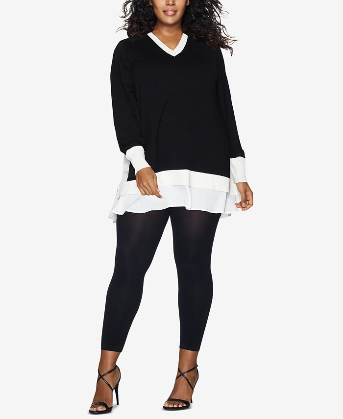 Hanes - Curves Plus Size Blackout Footless Tights