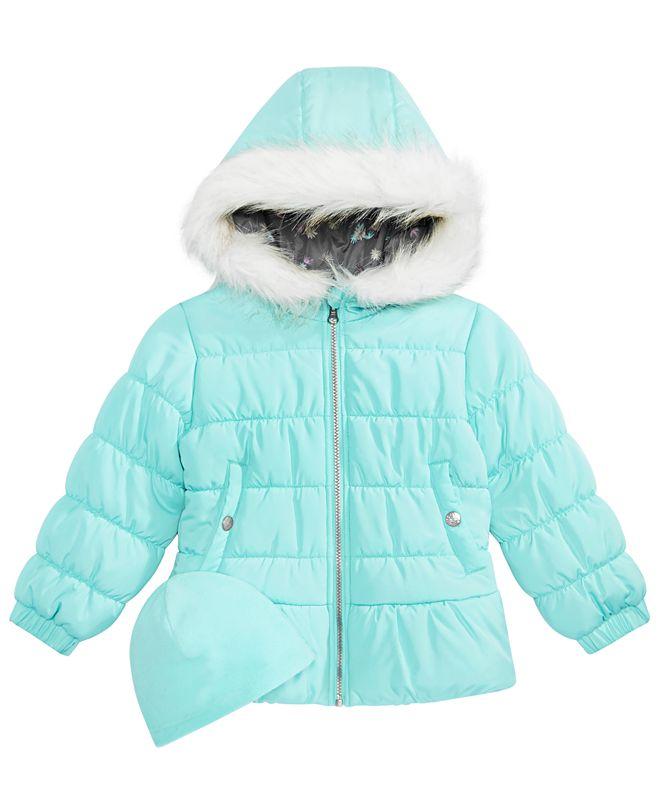 Weathertamer Big Girls Quilted Puffer Jacket & Matching Hat