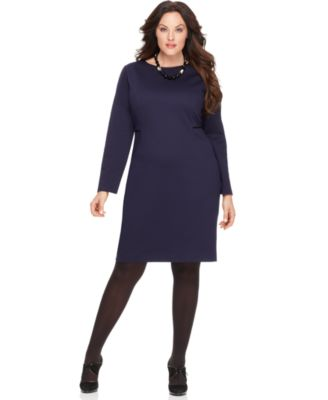 Tahari Woman Plus Size Dress, Thelma Long Sleeve Faux Leather Trim