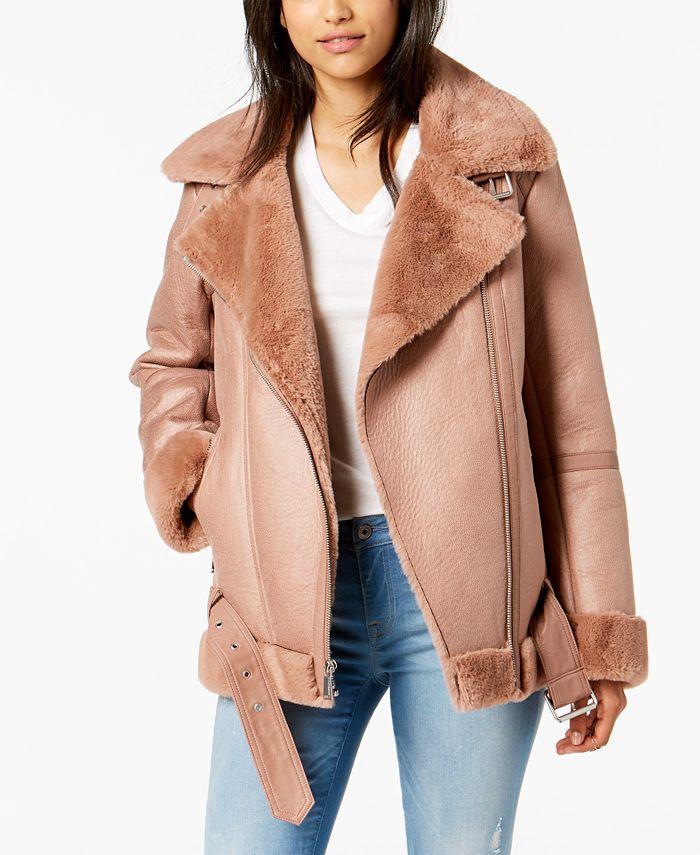 BCBGeneration - Asymmetrical Faux-Fur Moto Coat