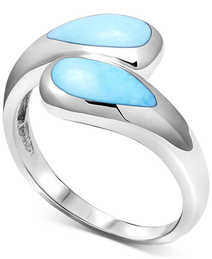 Marahlago - Larimar Bypass Ring in Sterling Silver